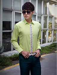 Shirts Classic (Semi-Spread) Long Sleeve Cotton/Polyester Solid Green