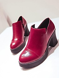 Women's shoes  Chunky Heel Leather Heels shoes More Colors available