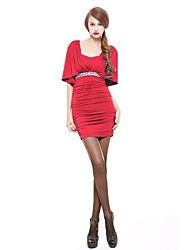 JoanneKitten® Women's Vintage/Sexy/Bodycon/Casual/Party/Work Rhinestones ½ Length Sleeve Open Shoulder Above Knee Dress