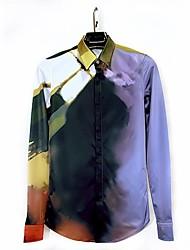 homens Slim Fit elegante vestido camisas de manga longa casuais