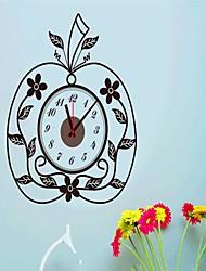 Fashion Apple Shaped Clock Wall Sticker