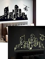 stickers muraux autocollants de mur, les bâtiments PVC mural lumineux autocollants