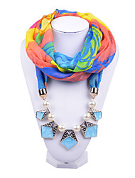 D Exceed  Women Infinity Scarf Necklace Color Block Geometric Printing Chiffon with Pearl Beads Pendant Scarves