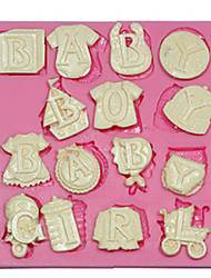 las cartas del bebé de silicona del molde del molde de pastel de silicona de decoración para fimo fondant caramelo de chocolate