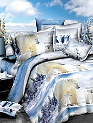 Shuian® Duvet Cover Set,3D Polar Bear Printing Bedding Set Bedsheet Duvet Cover Pillowcase Home Textile