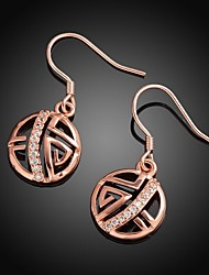 Fashion Geometric-Drop Rose Gold Rose Gold-Plated Drop Earrings(Rose Gold)(1Pair)