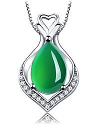 Collier Anniversaire/Mariage/Engagement/Cadeau/Sorée/Quotidien/Occasion spéciale Onyx/Zircon Argent Femme