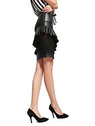 Women's Bodycon Micro-elastic Medium Above Knee Skirts (Mesh/PU)