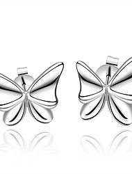 lureme® Fashion Style Silver Plated Butterfly Shape with Zircon Stud Earrings