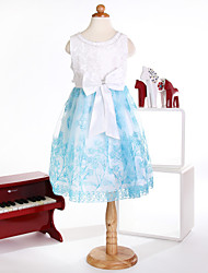 Princess Knee-length Flower Girl Dress - Satin Sleeveless Jewel with