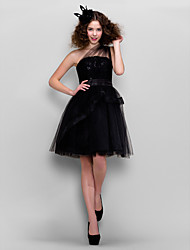 TS Couture Cocktail Party Prom Company Party Dress - Little Black Dress A-line Princess One Shoulder Knee-length Tulle withLace Sash /