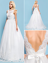 Lan Ting Ball Gown Plus Sizes Wedding Dress - Ivory Court Train Bateau Tulle