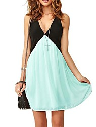 Women's Sexy Hot Color Matching V Collar Chiffon Vest Dress