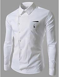White Men's Fashion Causal Long Sleeve Shirt