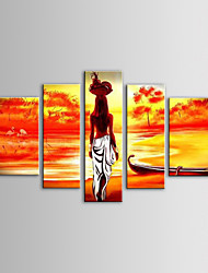 IARTS Oil Painting Modern Landscape Fruit Basket African Women Set of 5 Hand Painted Canvas with Stretched Frame