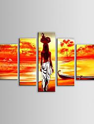 iarts pintura a óleo cesta de frutas paisagem moderna mulheres africanas conjunto de 5 telas pintadas a mão, com quadro esticado