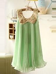 Vestido Chica deUn Color-Algodón-Verano / Primavera / Otoño-Verde / Rosa