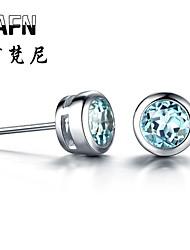 Stud Earrings ( Wie im Bild dargestellt , Sterlingsilber ) - Rund - Topas )