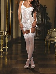 Women's Lace/Polyester Sexy Babydoll & Slips/Gartered Lingerie Nightwear with Stockings