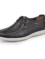 Men's Spring Summer Fall Winter Comfort Novelty Moccasin Leather Calf Hair Office & Career Casual Flat Heel Lace-up Black Brown