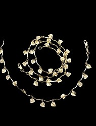 18K Real Gold Plated Leaves Pendant Necklace+Beacelet Jewelry Set