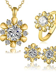 Gold Plated Flower Modelling Fashion Women's Jewelry Sets