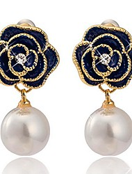 Tina -- Korean High-grade Alloy Rose Pearl Stud Earring in Party
