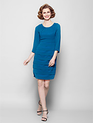 Lanting Sheath/Column Plus Sizes / Petite Mother of the Bride Dress - Ink Blue Knee-length 3/4 Length Sleeve Georgette