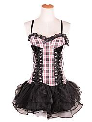 Pretty Girl Black & White Grids Pattern Gothic Lolita Dress