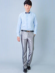 Shirts Classic (Semi-Spread) Long Sleeve Cotton/Polyester Solid Light Blue
