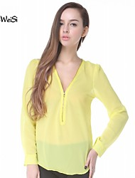 NUO WEI SI ®   Women's V Neck Style Loose Fit Blouse