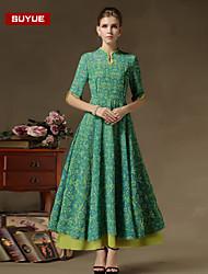 Suyue® The Latest Fashion Women's Vintage  Slim Mandarin Collar Three-Quarter Sleeves Maxi Dress