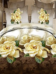 Shuian® Duvet Cover Set,3D Yellow Flower Bedding Bed Sheet Real Flowers Style 4Pcs Bedcover Bedding Bed Sheet