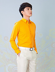 Shirts Classic (Semi-Spread) Long Sleeve Cotton/Polyester Solid Orange
