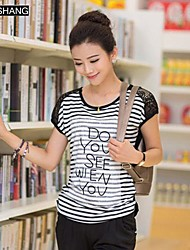 biaoshang®women der runden Kragen lässig Streifen gedruckt Kurzarm-T-Shirt