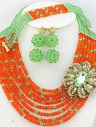 Nigerian Wedding African Beads Jewelry Set Crystal Rhinestone Flower Crystal Beads Jewelry Set