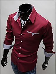 White Men's Fashion Fashion Classical Slim Long Sleeve Shirt