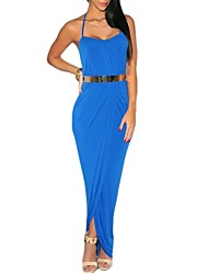 Women's Strap Halter Wrap Front Draped Maxi Dress