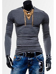 playgame  Men's V-Neck T-Shirts , Cotton Blend Long Sleeve Casual