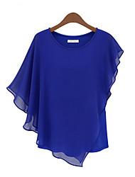 T-Shirts ( Chiffon/Mistura de Algodão ) MULHERES - Vintage/Sexy/Praia/Pesta/Trabalho Redondo
