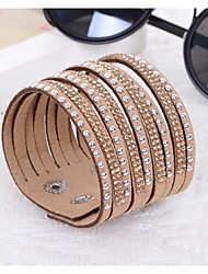 Hot Drill Bangle Handmade Rivet Velvet Bracelet Bling Rhinestone Wrap Leather Bracelet Jewelry Christmas Gifts
