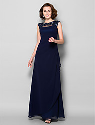 Lanting Bride Sheath / Column Plus Size / Petite Mother of the Bride Dress Floor-length Sleeveless Georgette withAppliques / Beading /