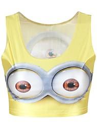 Women's Sexy Print Stretchy Sleeveless Regular Vest (Polyester)