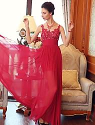 Sheath/Column Jewel Floor-length Chiffon Dress