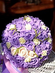 Purple Wedding Bouquet PE Silk Cloth Wedding Bride Holding Flowers