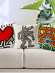 Set of 3 Modern Style Cartoon Man Patterned Cotton/Linen Decorative Pillow Cover