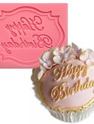 fondant bolo em forma de chocolate do molde de silicone feliz aniversário, ferramentas de decoração cupcake, l7.3cm * * w5.6cm h0.7cm