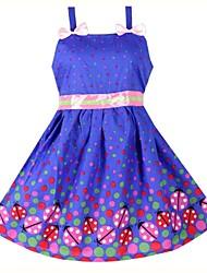 Girls Ladybird Dot Bow Party Casual Beach Tank Princess  Dresses(100% Cotton)