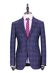Suits Tailored Fit Notch Single Breasted Two-buttons Wool Gingham 1 Piece Blue Slanted Piped Blue