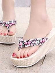 Women's Shoes Wedge Heel Flip Flops Sandals Casual Blue/Yellow/Pink